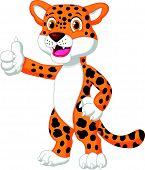 Cute leopard cartoon giving thumb up