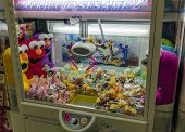 A Claw Crane Game Machine In Dotombori District, Osaka, Japan