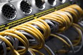 stock photo of utp  - Network switch and UTP ethernet cables detail - JPG