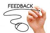 image of reaction  - Hand sketching Feedback Mouse Concept with black marker on transparent wipe board - JPG