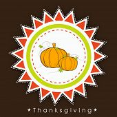 Vintage Happy Thanksgiving Day celebration concept with pumpkins, can be use as flyer, banner or poster.