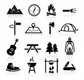 stock photo of torches  - Collection of outdoor and camping icons - JPG