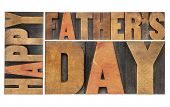happy father's day - isolated word abstract in antique wood letterpress printing blocks