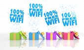 Christmas Present Boxes With 100 Percent Free Wifi Icon