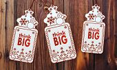 Three Christmas Cards With Think Big Sticker