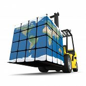 stock photo of forklift  - Concept of global transportation modern yellow forklift carrying planet Earth in form of cube isolated on white background - JPG