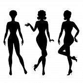 Silhouettes of beautiful pin up girls 1950s style.