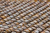 Close Up Image On Very Old Roof Tiles