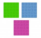 Three Color Puzzle Fields With Rounded Pieces In The Corner On White Background