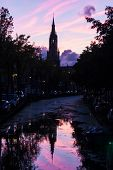 Nieuwe Kerk In Delft, Netherlands In The Afterglow