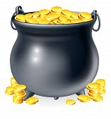pic of cauldron  - Illustration of cauldron or a black pot full of gold coins - JPG