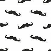 Seamless vector pattern, background or texture with gentleman mustaches on white background