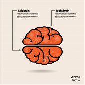 Постер, плакат: Left Brain And Right Brain Symbol creativity Sign business Symbol knowledge And Education Icon