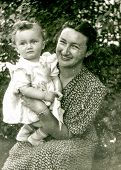 LODZ, POLAND, CIRCA FIFTIES: vintage photo of mother and baby daughter, Lodz, Poland, circa fifties