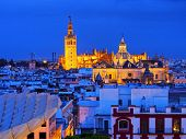 Cityscape And The Cathedral Of Seville, Spain