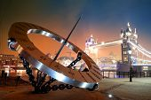 picture of sundial  - Sundial and Tower Bridge at waterfront in London - JPG