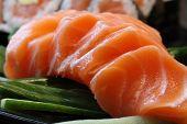 Sushi Rolls With Vassabi On The Plate