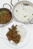A meal of spiced lamb curry with coriander leaves and slivers of red and green chillies, served with plain boiled rice, viewed from above.