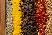 A line-up of cinnamon, cumin seeds, turmeric, cloves, crushed chillies and fenugreek seeds - typical ingredients of a curry powder