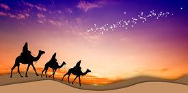 foto of magi  - Magi Kings following the star of Bethlehem - JPG