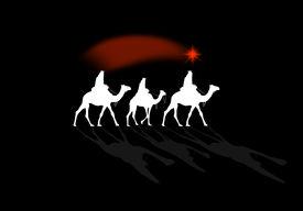 image of magi  - an illustration of a Nativity scene with Magi kings - JPG