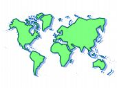 Schematic World Map In Green