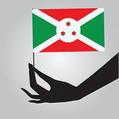 Burundi Flag In His Hand