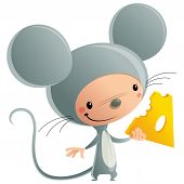 Cartoon Happy Smiling Kid Wearing Funny Carnival Mouse Cheese Costume