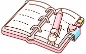 A vector illustration of open personal organizer