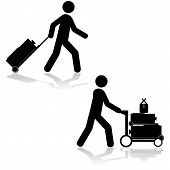 picture of carry-on luggage  - Icon set showing a man pulling a piece of luggage or carrying multiple items with a cart - JPG