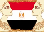 picture of cleopatra  - Egyptian queen cleopatra on the background of the flag of Egypt  - JPG