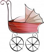 Vector illustration of a baby carriage