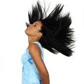 pic of african american woman  - Portrait of young african american girl waving her hair  - JPG