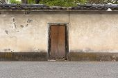 Japanese style wooden door and old wall in Kyoto with nobody, Japan, Asia.