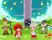 Little Red Hiding Hood scene. Funny cartoon and vector illustration.