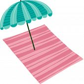 The view of parasol with mat