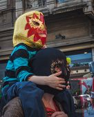 Child Taking Part In Mayday Parade In Milan, Italy