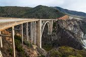 foto of pch  - The Historic Bixby Bridge on the Pacific Coast Highway California Big Sur - JPG