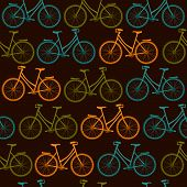 Seamless vector pattern with color bicycles