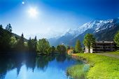 Beautiful landscape with lake in Chamonix, France