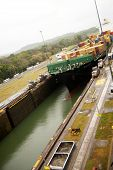 Freighter in Panama Canal