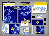 Vector set of blue design corporate identity templates with notepad, envelope, business card, CD, flag, badge, mug  and other office accessories
