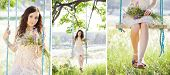image of swing  - Young woman is swinging on a swing in summer forest - JPG