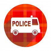 police red flat icon isolated