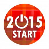 new year 2015 red flat icon isolated