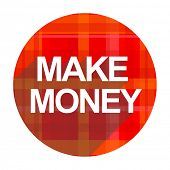 make money red flat icon isolated