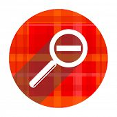 lens red flat icon isolated