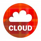 cloud red flat icon isolated