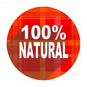 natural red flat icon isolated
