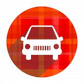 car red flat icon isolated